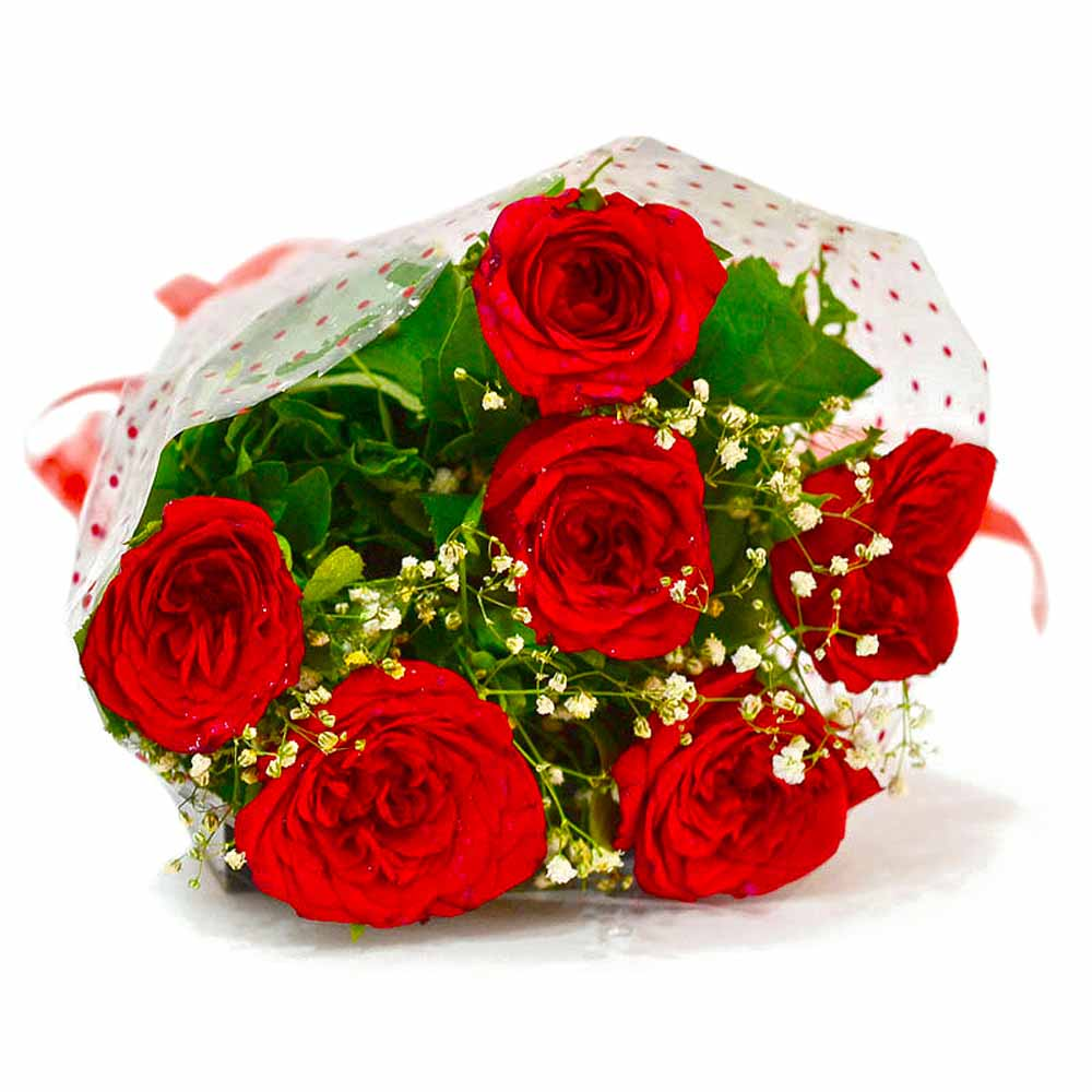 Hand Tied Bouquet of Six Red Roses