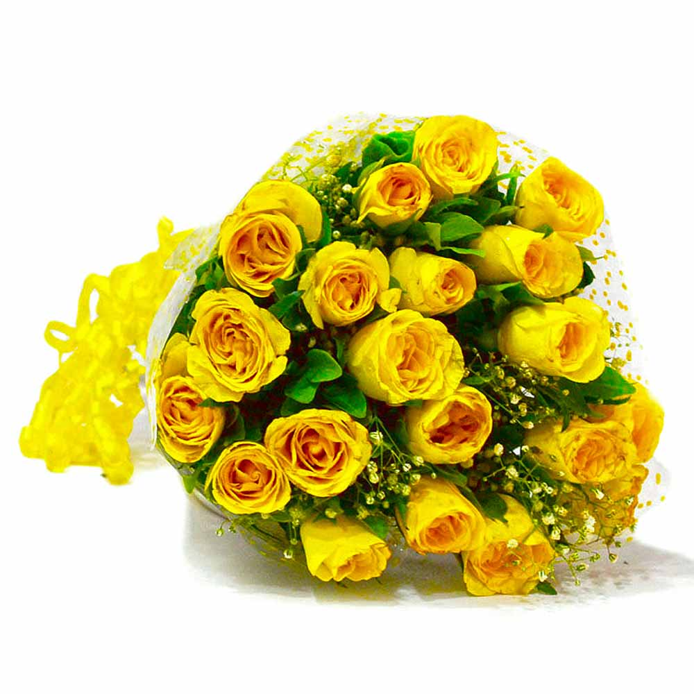 Bouquet of Twenty Yellow Roses