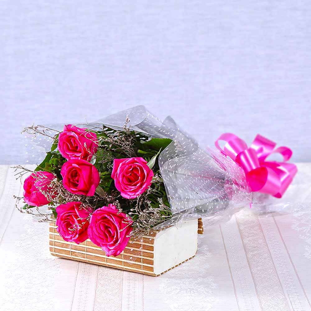 Six Pink Roses Bouquet