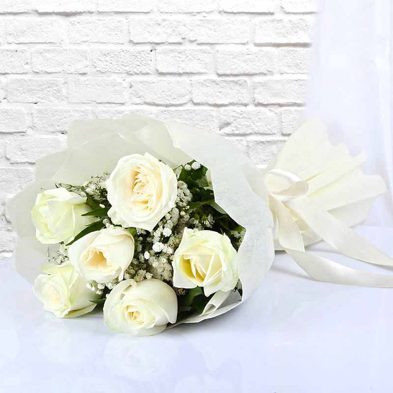 Red Roses-Six White Roses Bouquet