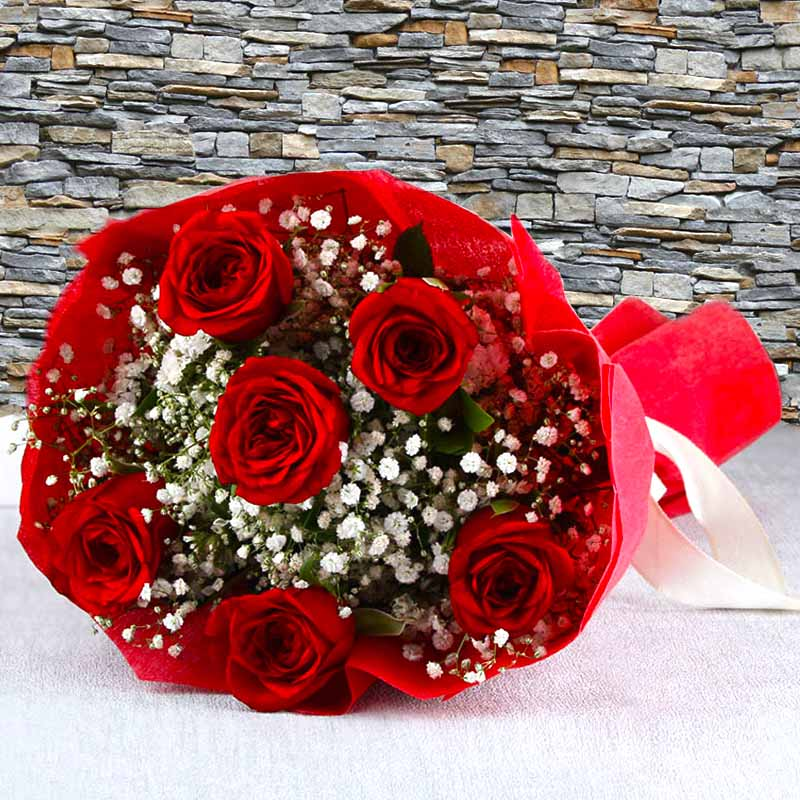 Bouquet of Six Red Roses with Tissue Wrapping
