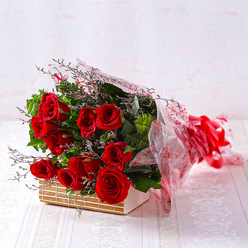 Red Roses-Bouquet of Ten Long Stemmed Red Roses