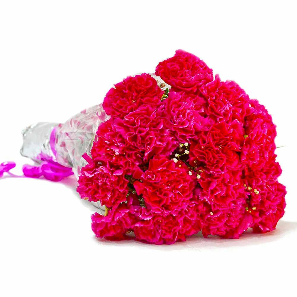 Beautiful Fifteen Pink Carnations Bouquet
