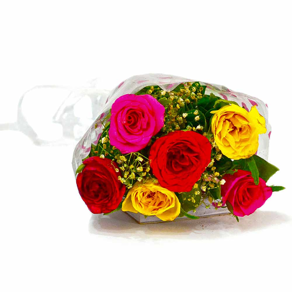 Six Stem of Colorful Roses Bunch