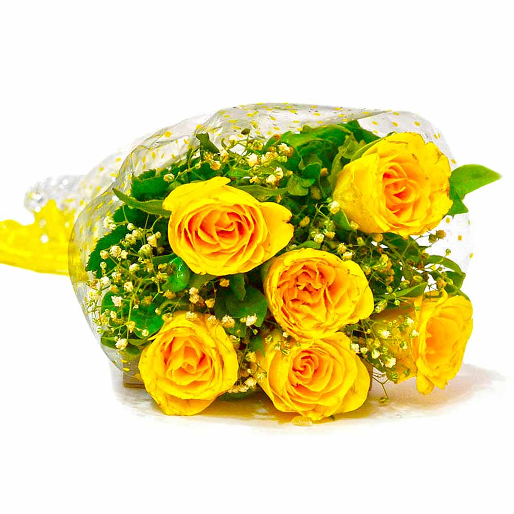 Six Stem of Yellow Roses Bouquet