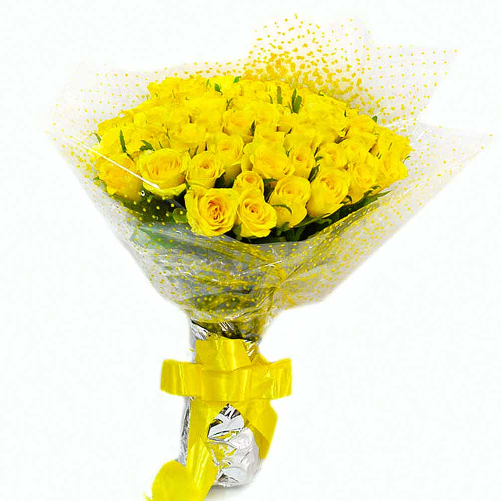 Fresh 50 Yellow Roses Bouquet