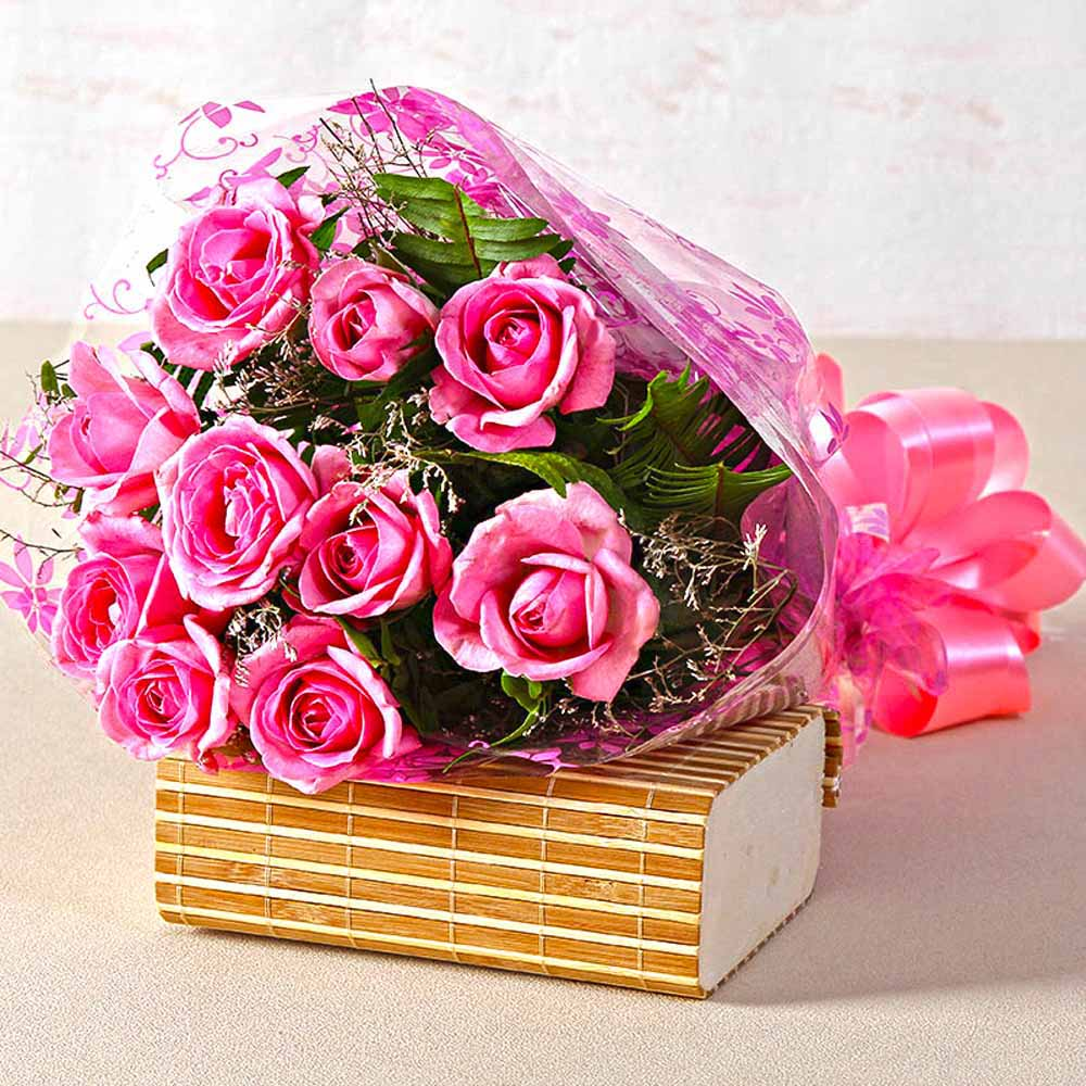Beautiful Ten Pink Roses Hand Tied Bunch