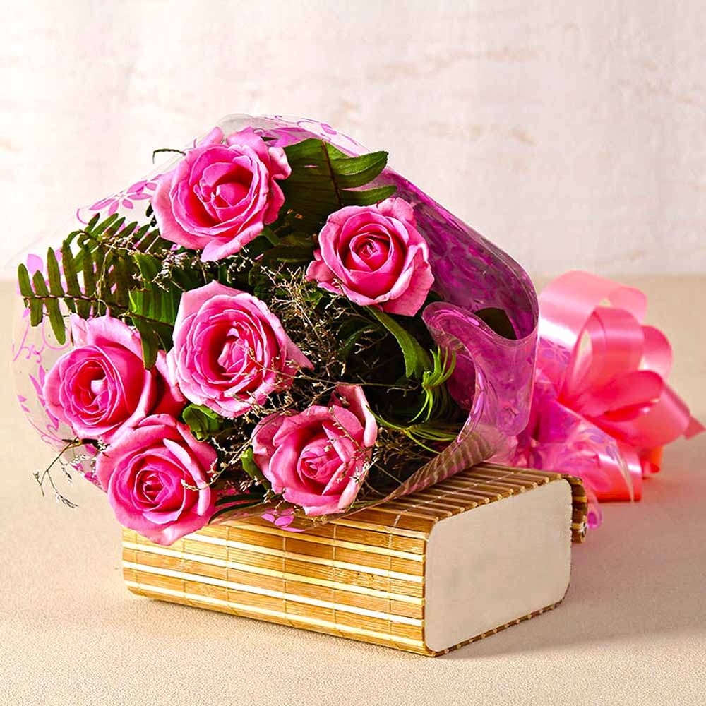 Lovely Six Pink Roses Bouquet with Cellophane Wrapped