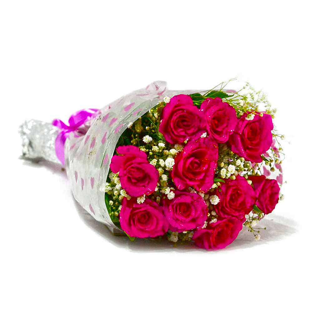 Fresh Ten Pink Roses Bunch