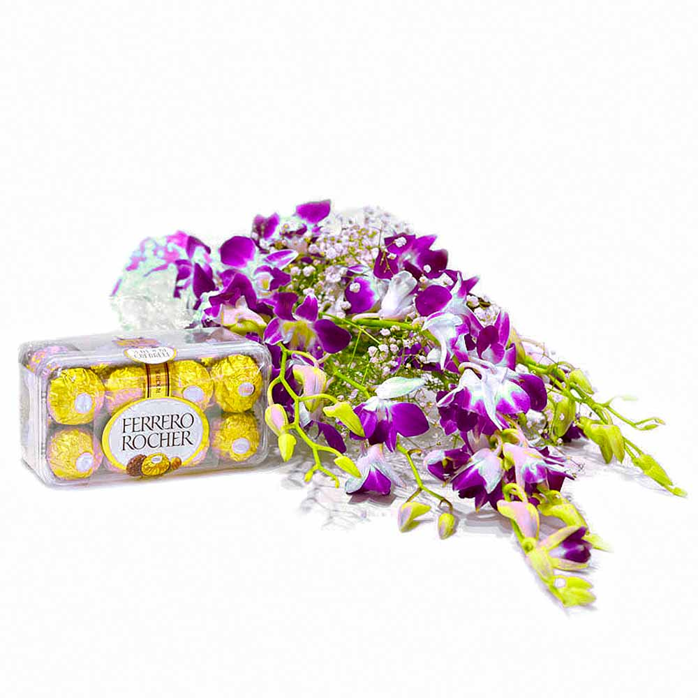 Bouquet of 6 Purple Orchid with Ferrero Rocher Chocolate