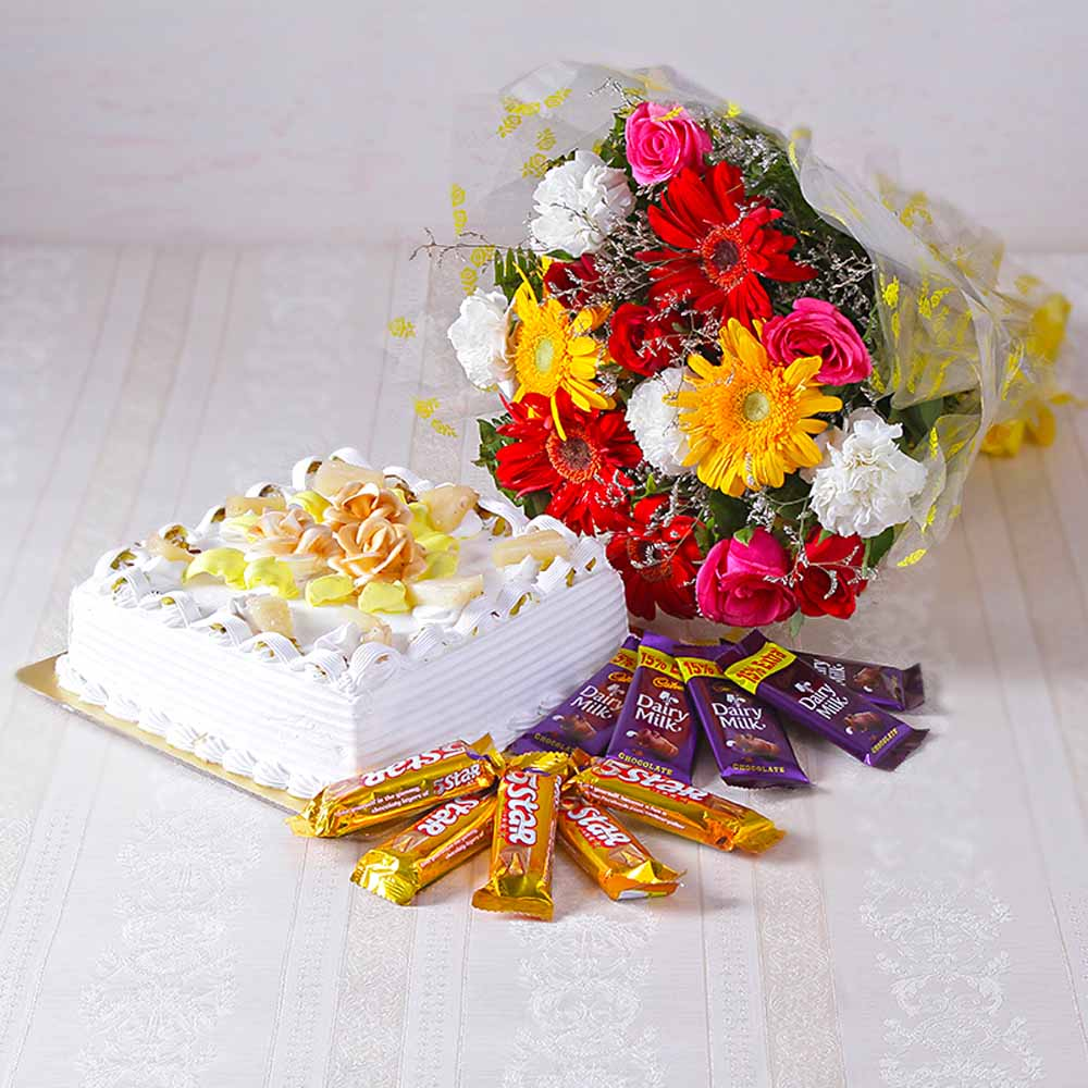 Bouquet Of Mix Flowers With Square Shape Pineapple Cake