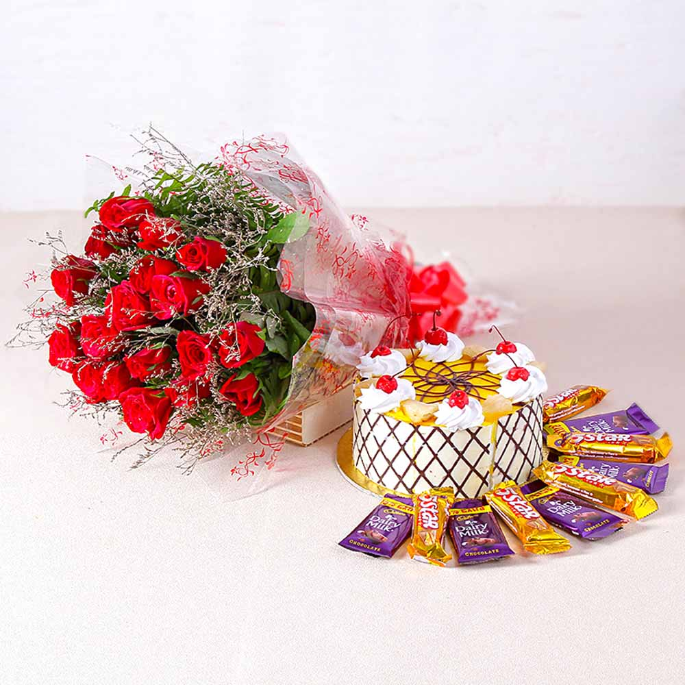 Eighteen Red Roses with Pineapple cake and Bars of chocolates