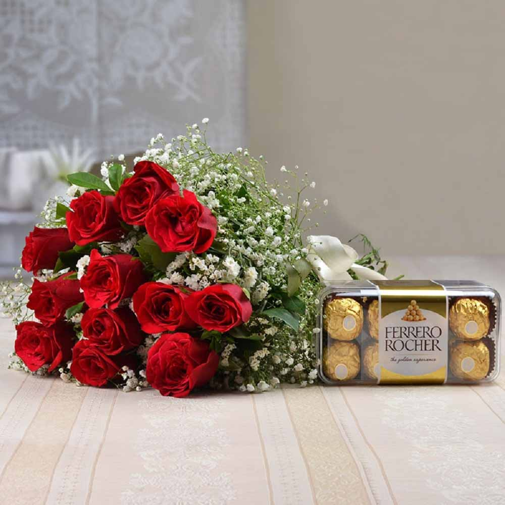 Ferrero Rocher Chocolates with Fresh Twelve Red Roses Bouquet