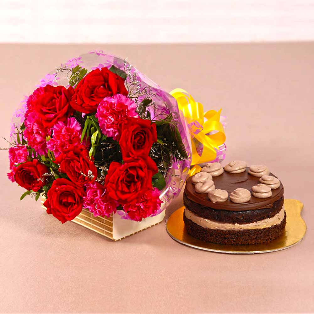 Cakes & Flowers-Roses and Carnations Bouquet with Chocolate Cake