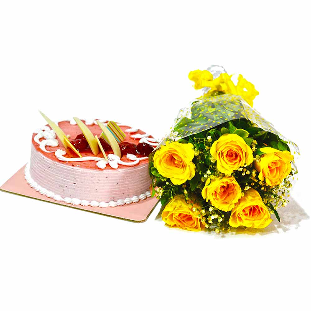 Cakes & Flowers-Bouquet of Yellow Roses and Strawberry Cake