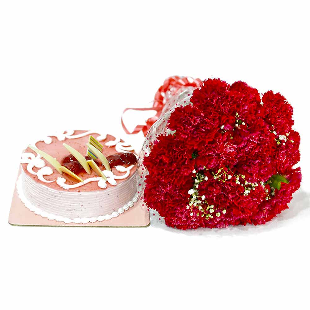 Cakes & Flowers-Bouquet of Red Carnations with Strawberry Cake