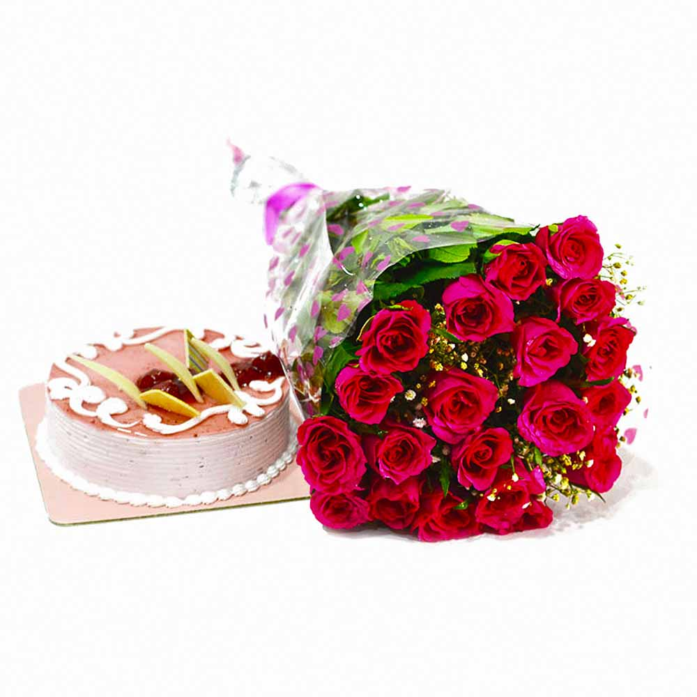 Cakes & Flowers-Twenty Pink Roses with Strawberry Cake