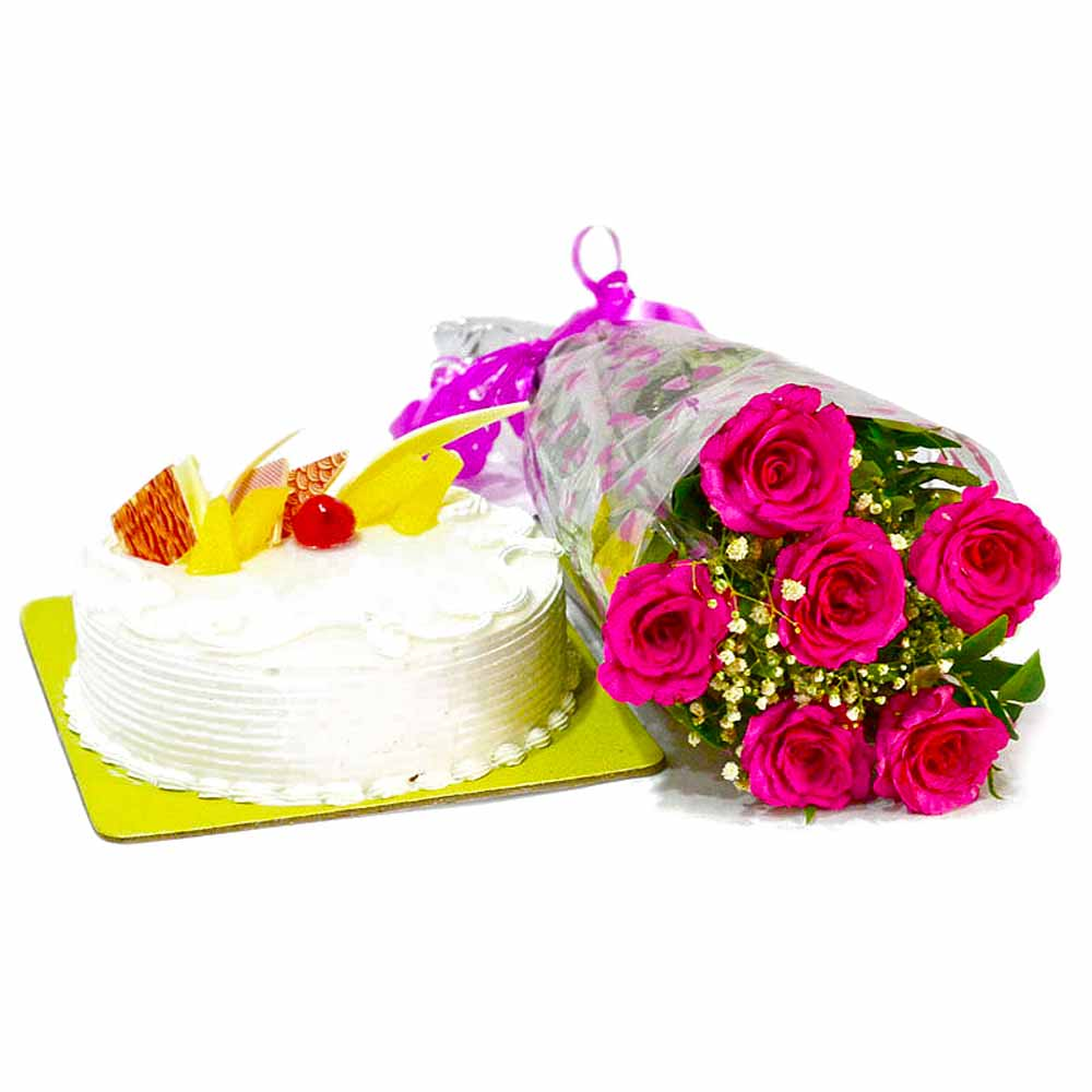 Cakes & Flowers-Six Pink Roses Bunch with Pineapple Cake