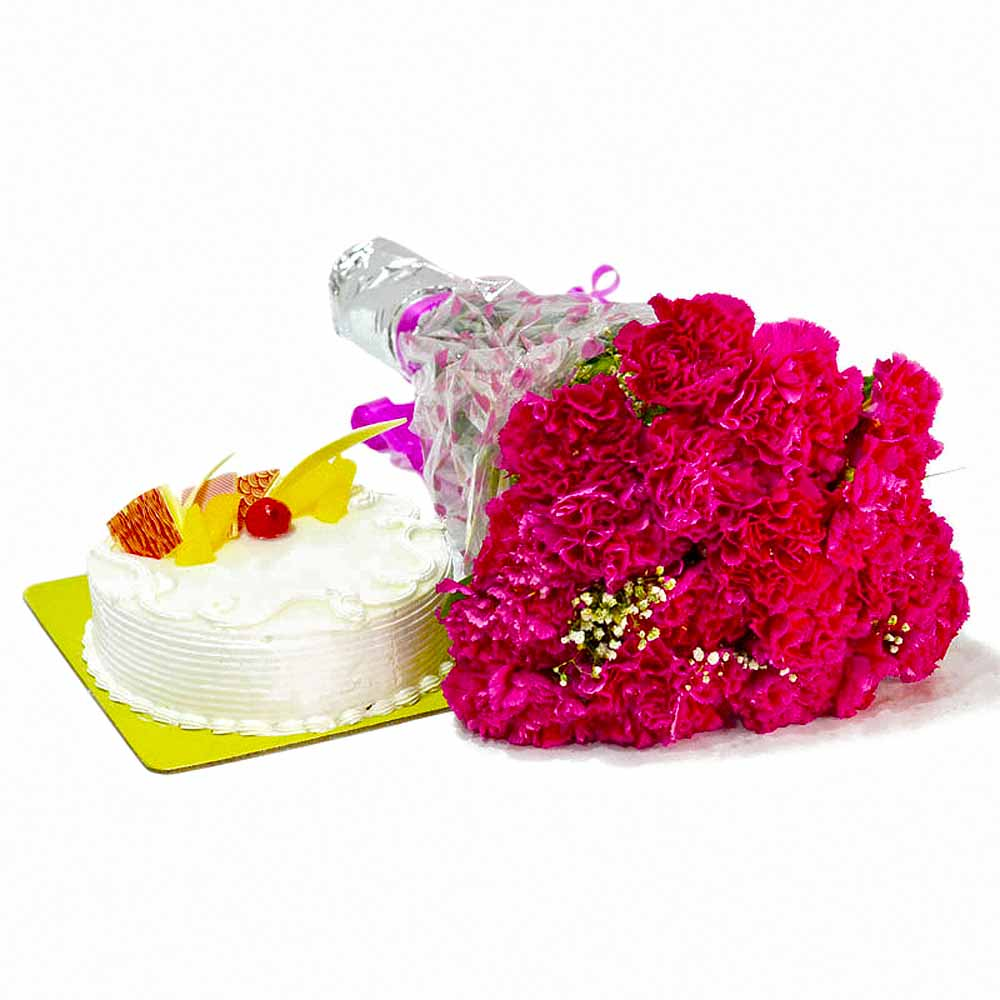 Carnation Flowers and Cake for Birthday Gifts