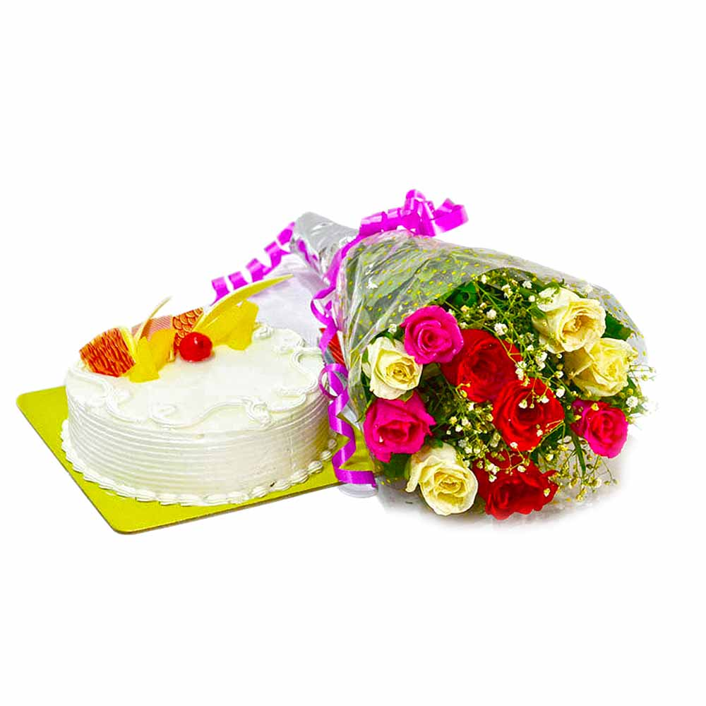 Bunch of Mix Roses with Pineapple Cake