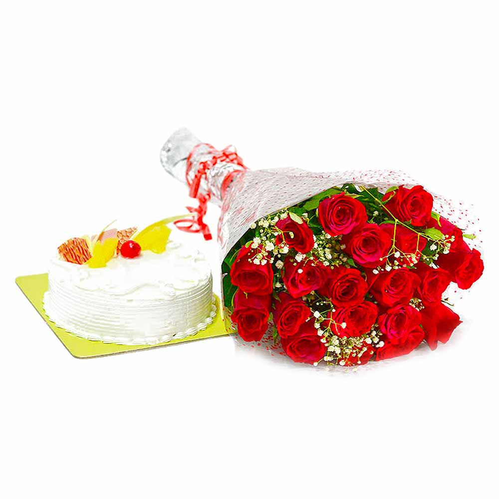 Twenty Red Roses Bouquet with Pineapple Cake
