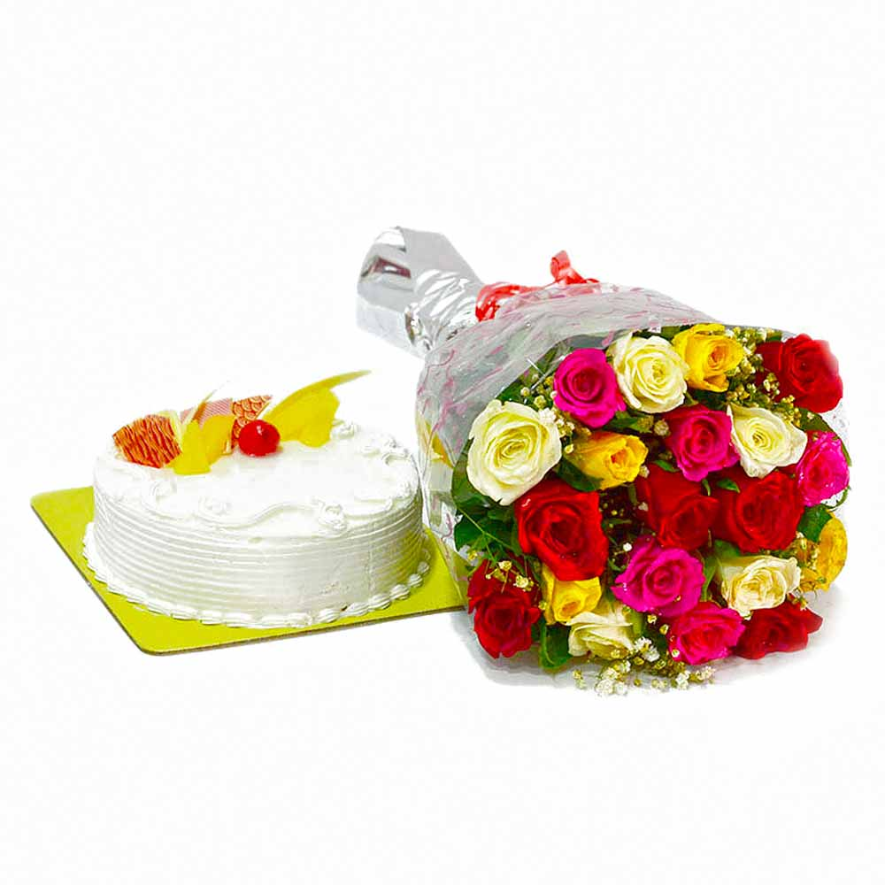 Cakes & Flowers-Twenty Colorful Roses Bouquet with Pineapple Cake