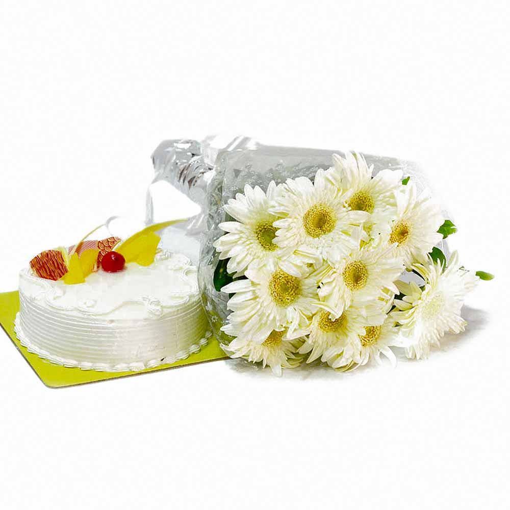 Pineapple Cake and White Gerberas Bunch
