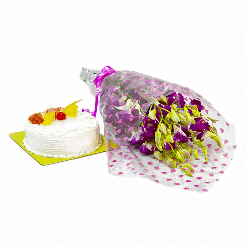Cakes & Flowers-Ten Orchids with Pineapple Cake