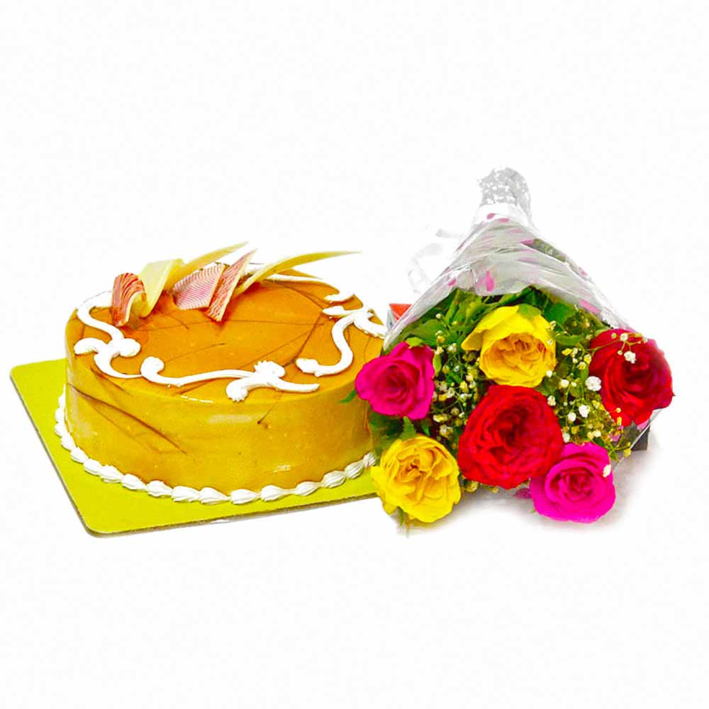 Cakes & Flowers-Six Colorful Roses with Butterscotch Cake
