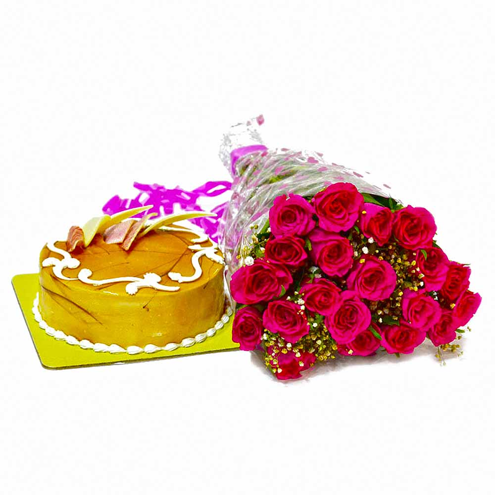 Lovely 20 Pink Roses and Butterscotch Cake