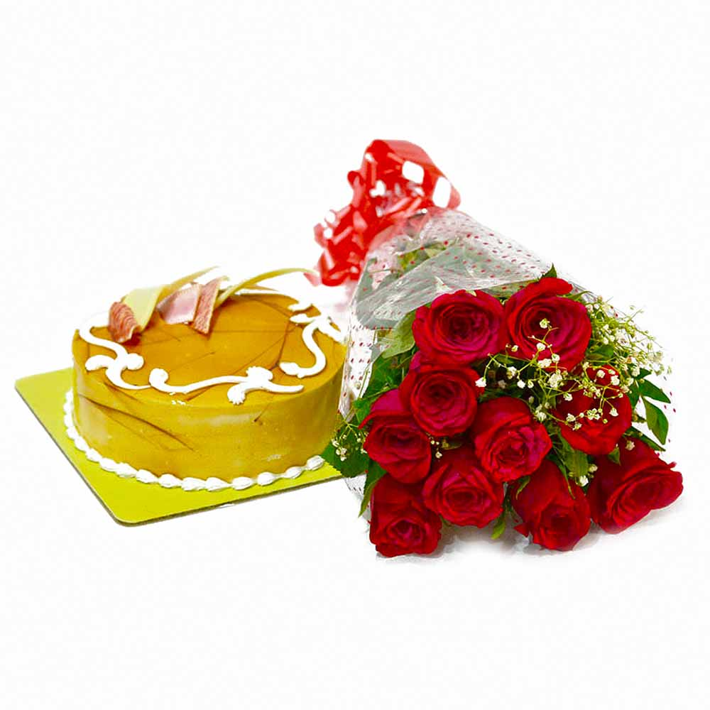 Cakes & Flowers-Love Bouquet of 10 Red Roses with Butterscotch Cake