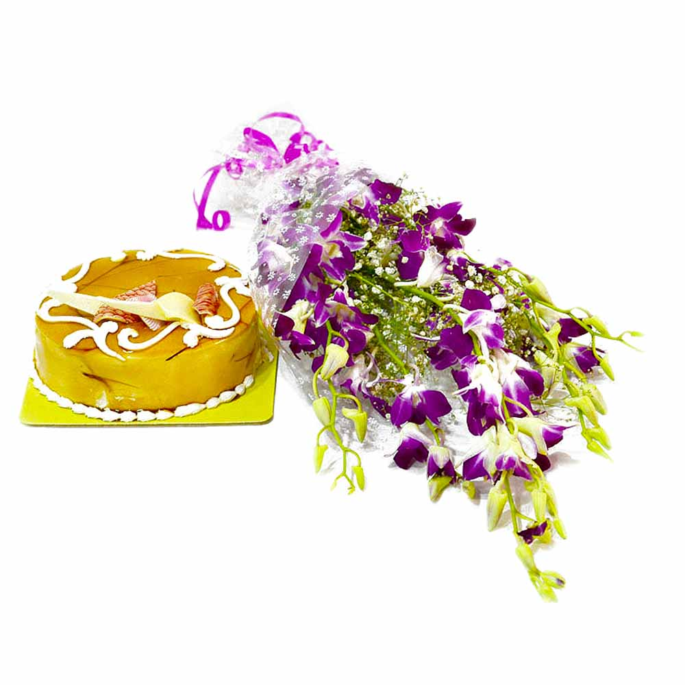 Exotic Orchids Bouquet and Butterscotch Cake