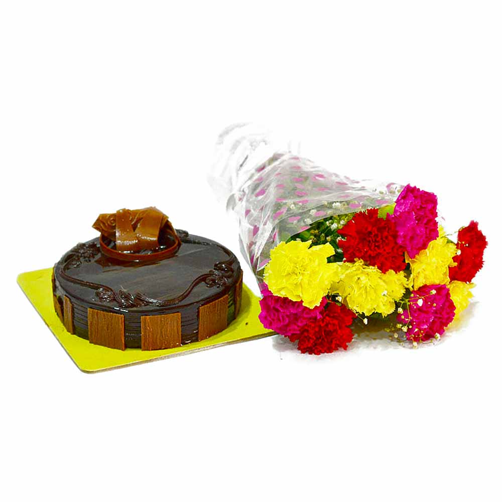 Cakes & Flowers-Assorted 10 Carnations Bouquet with Chocolate Cake