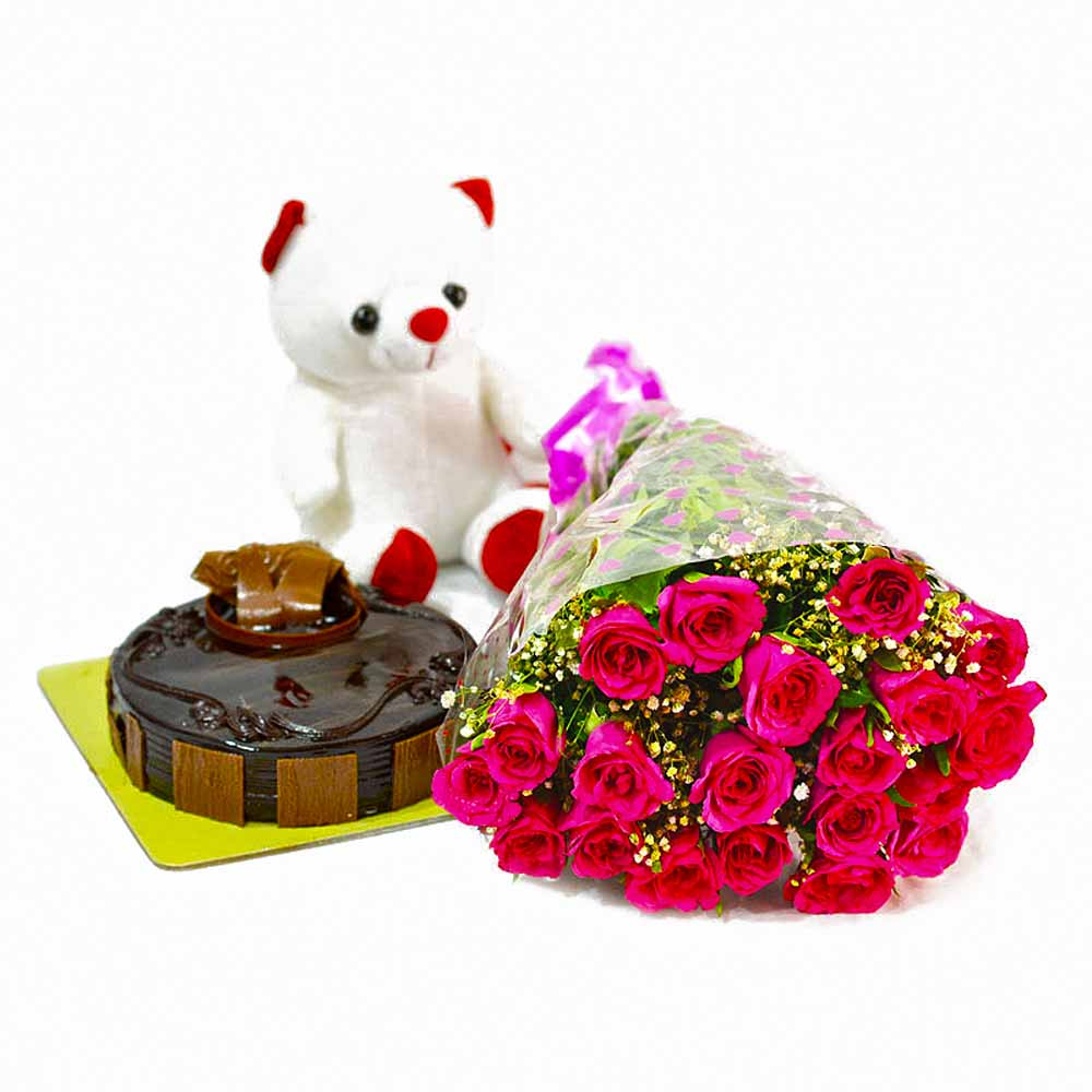 Cakes & Flowers-Cute Teddy Bear with Pink Roses Bunch and Chocolate Cake