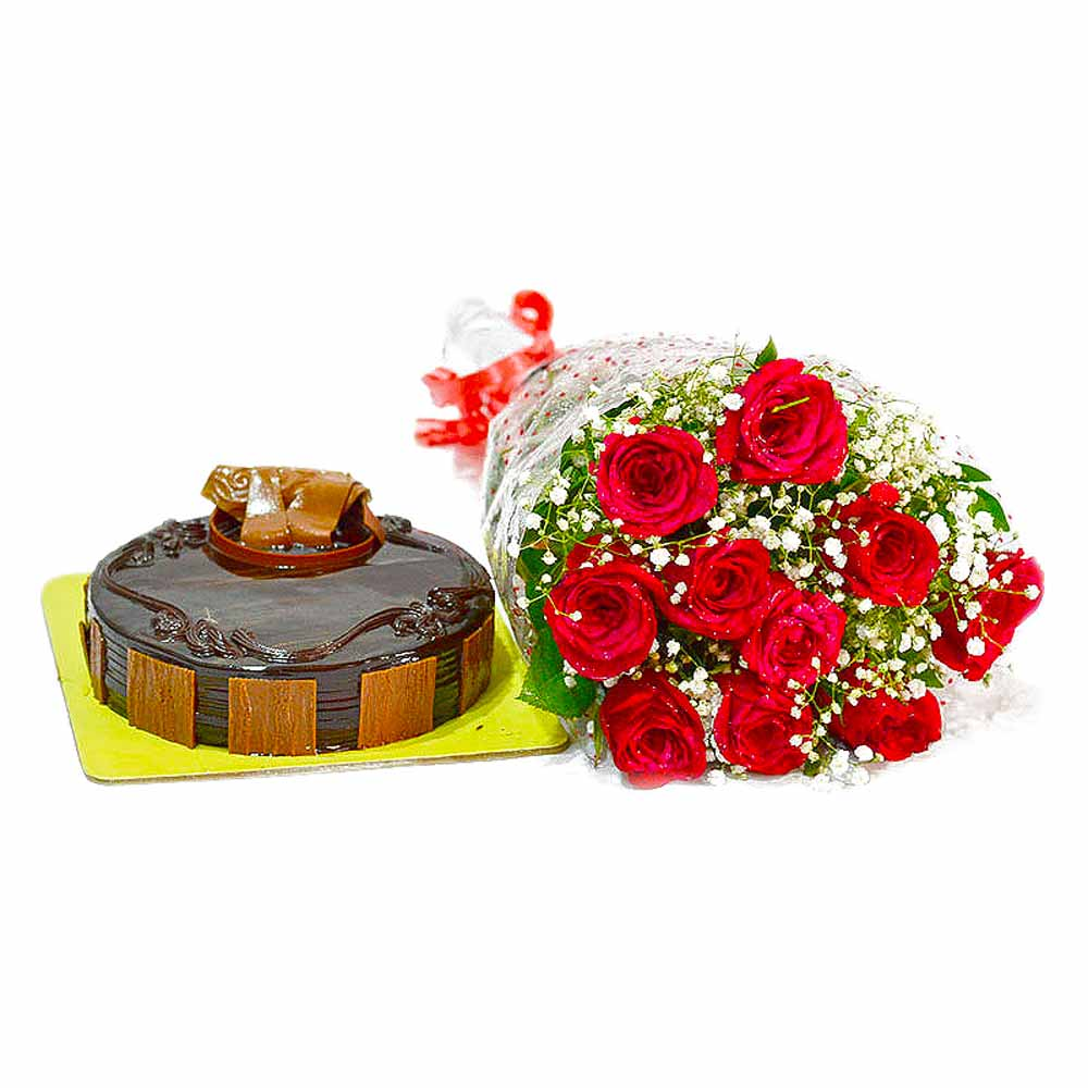 Bouquet of Ten Red Roses and Half Kg Chocolate Cake