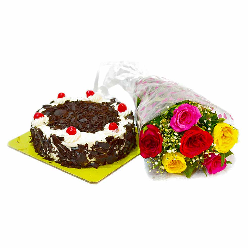 Anniversary Combo of Colorful Roses and Black Forest Cake