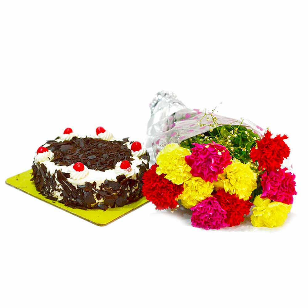 Ten Multi Color Carnations Bunch with Half Kg Black Forest Cake