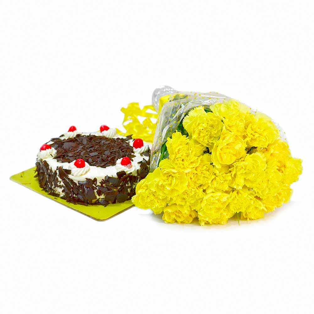 Bunch of 20 Yellow Carnations with Half Kg Black Forest Cake
