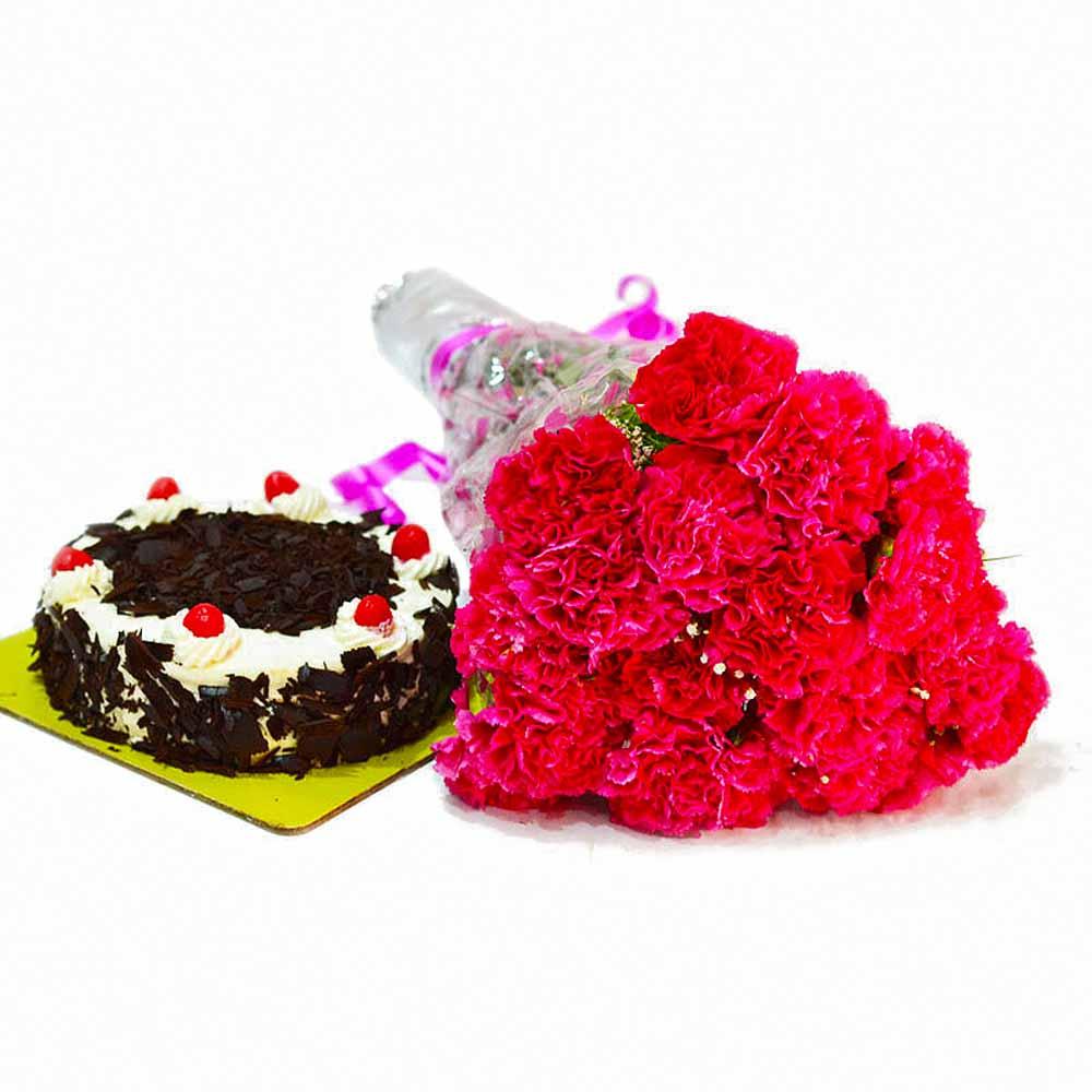 Fresh 20 Pink Carnations with Half Kg Black Forest Cake