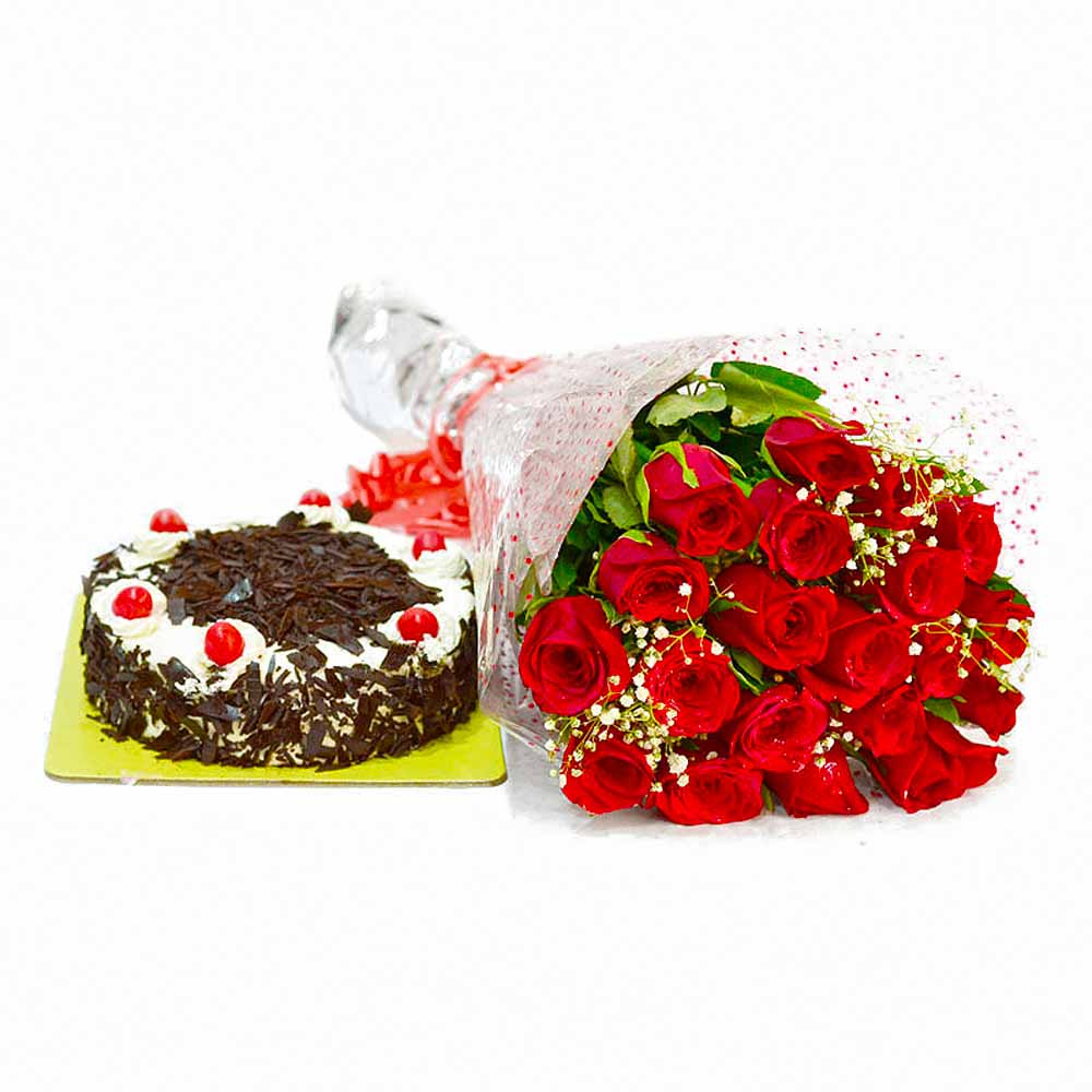 Cakes & Flowers-20 Romantic Red Roses Bouquet with Black Forest Cake