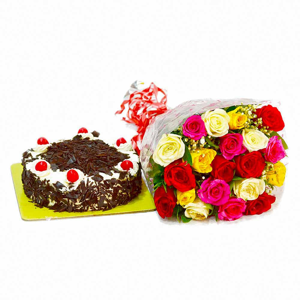 Cakes & Flowers-Birthday Surprise Special of Multi Color Roses with Blackforest Cake