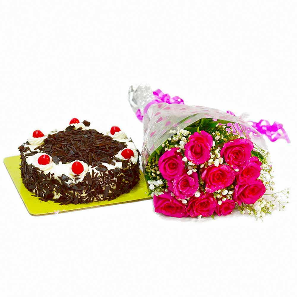 Cakes & Flowers-Twinkling Ten Pink Roses with Black Forest Cake