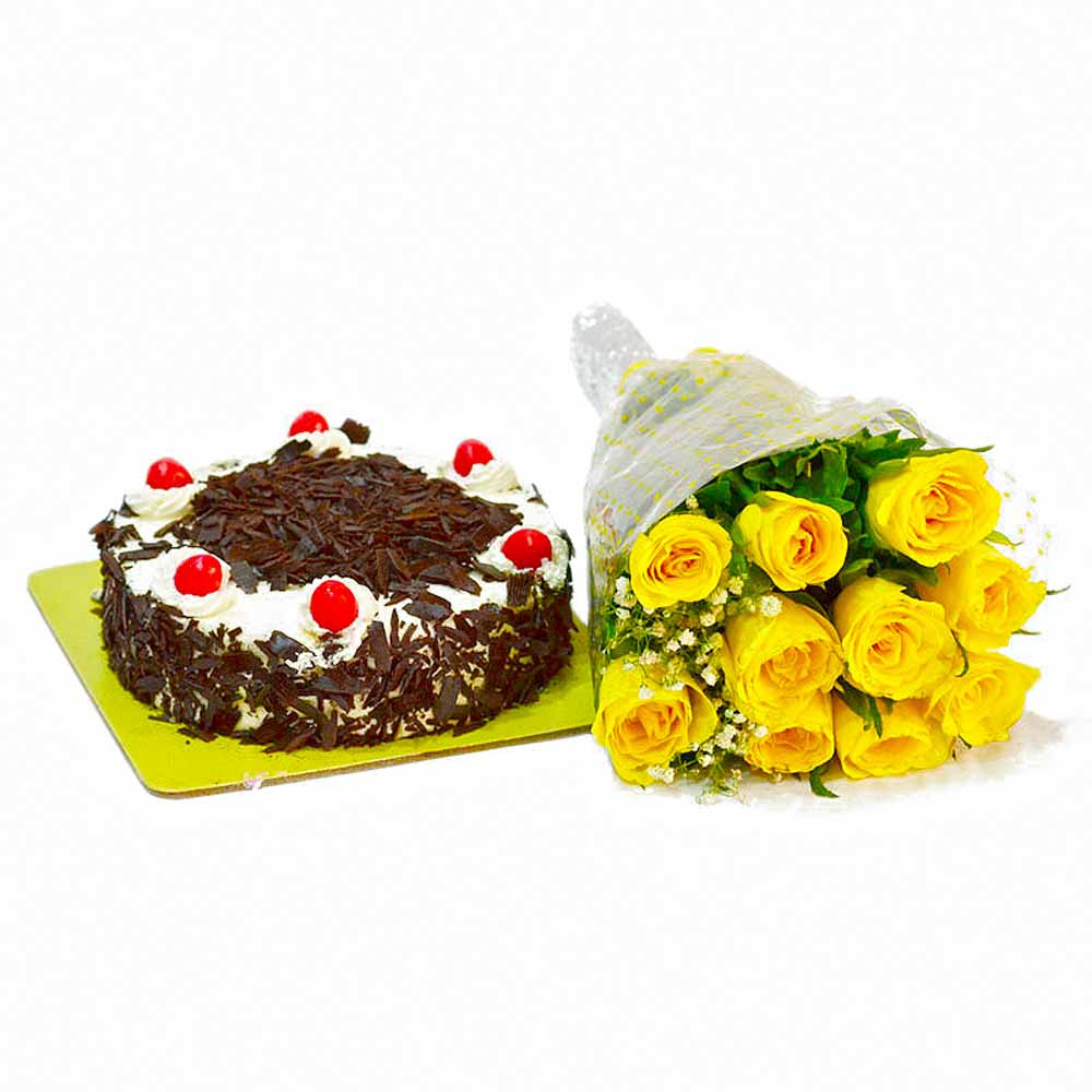 Cakes & Flowers-Sunshine 10 Yellow Roses with Black Forest Cake