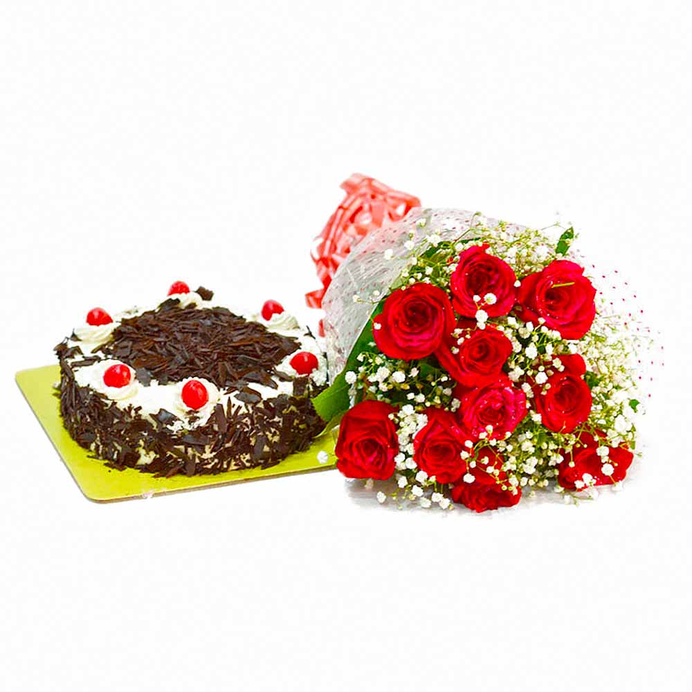 Cakes & Flowers-Ten Red Roses Bunch with Half Kg Black Forest Cake