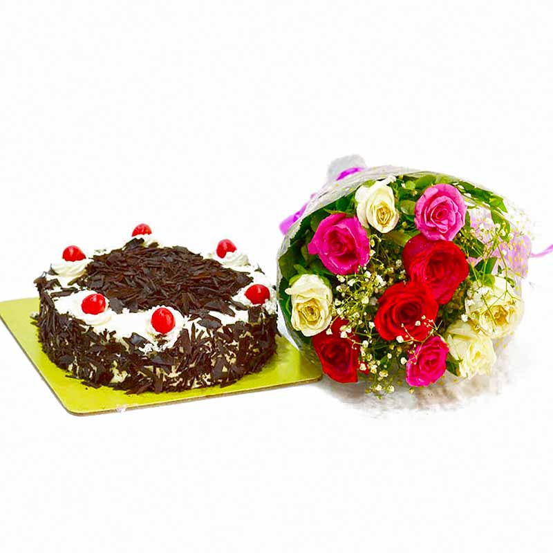 Cakes & Flowers-Ten Multi Roses Bunch with Black Forest Cake