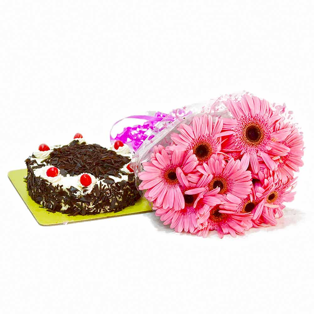 Cakes & Flowers-Lovely 10 Pink Gerberas with Black Forest Cake