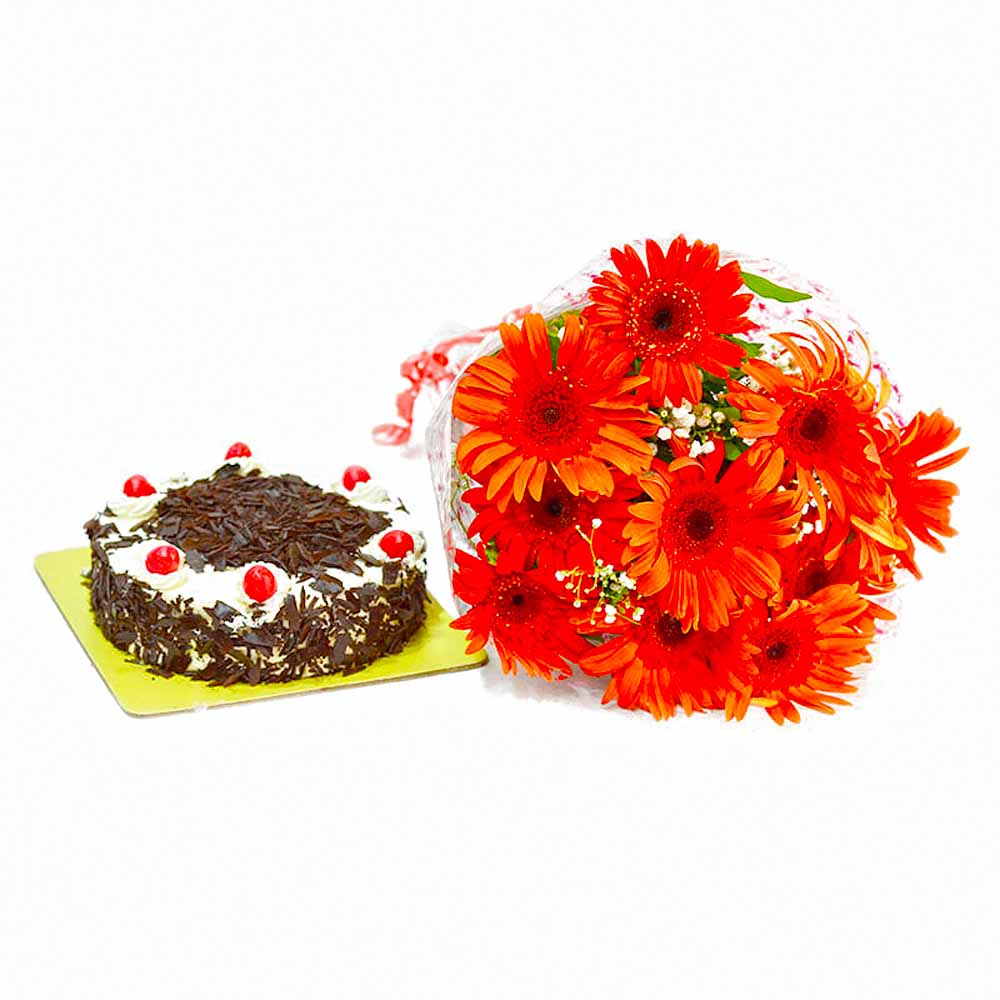 Cakes & Flowers-Bunch of 10 Red Gerberas with Black Forest Cake
