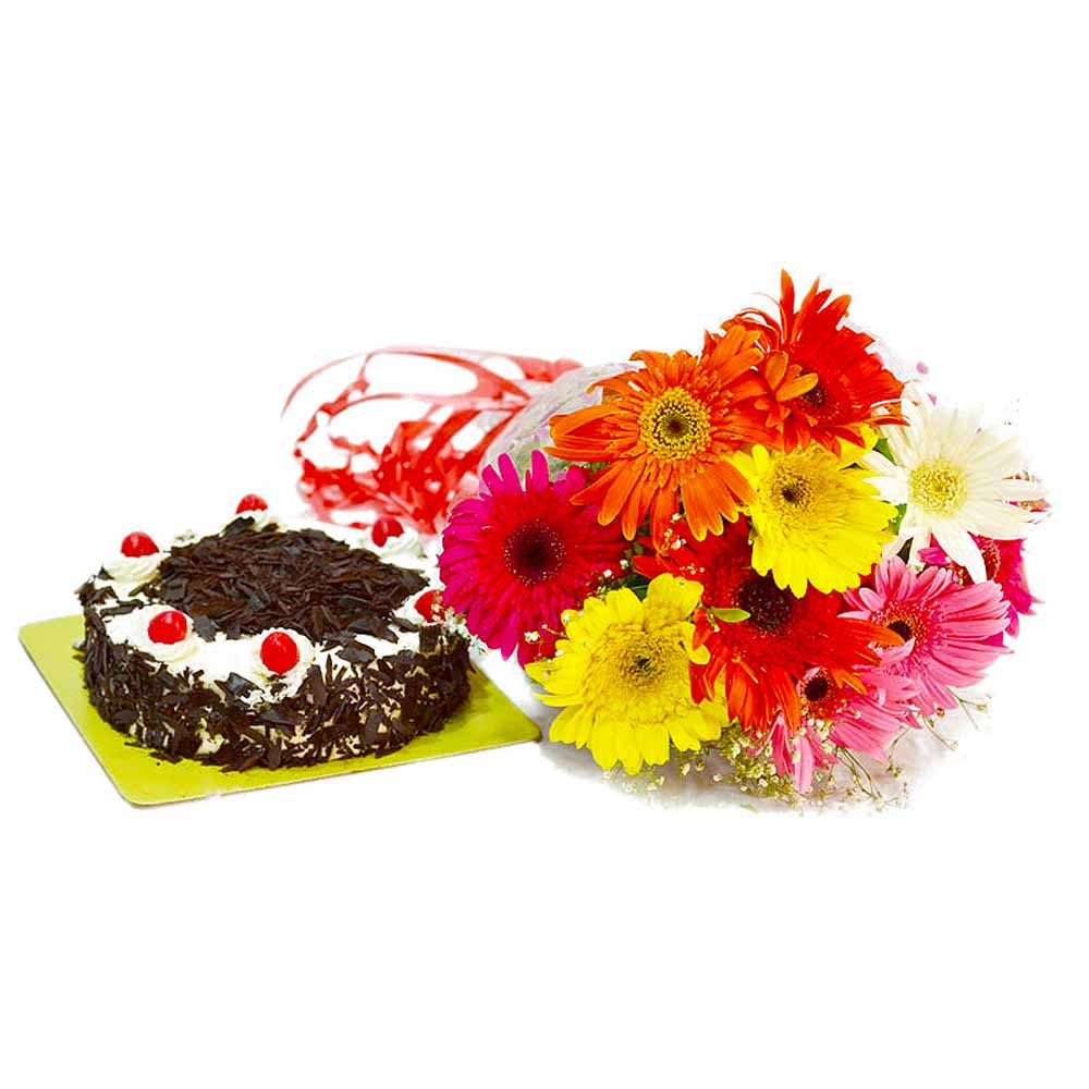 Cakes & Flowers-Bright 10 Mix Color Gerberas with Half Kg Black Forest Cake