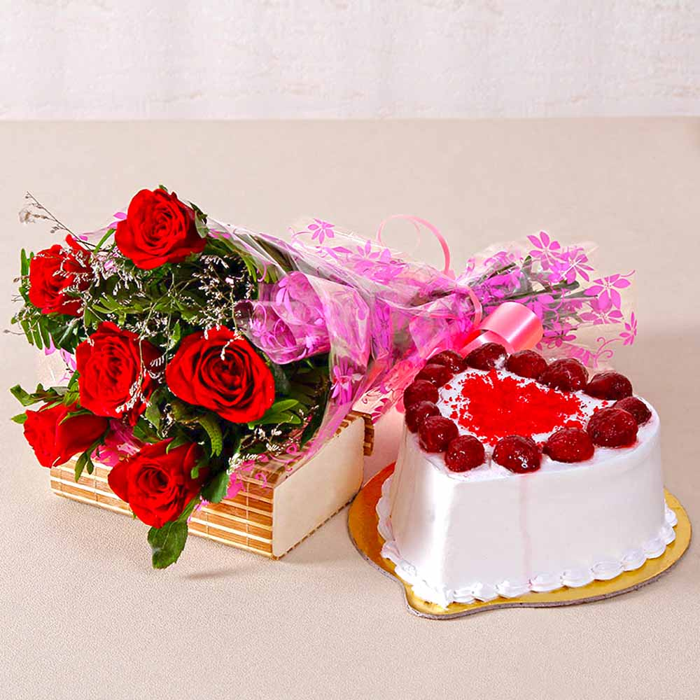 Six Special Red Roses Bunch with Heart Shape Strawberry Cake