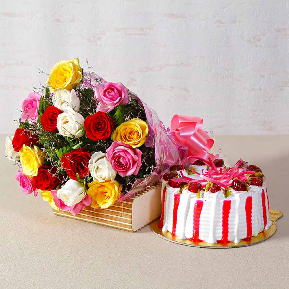 Twenty Multi Roses Bunch with Fresh Cream Strawberry Cake